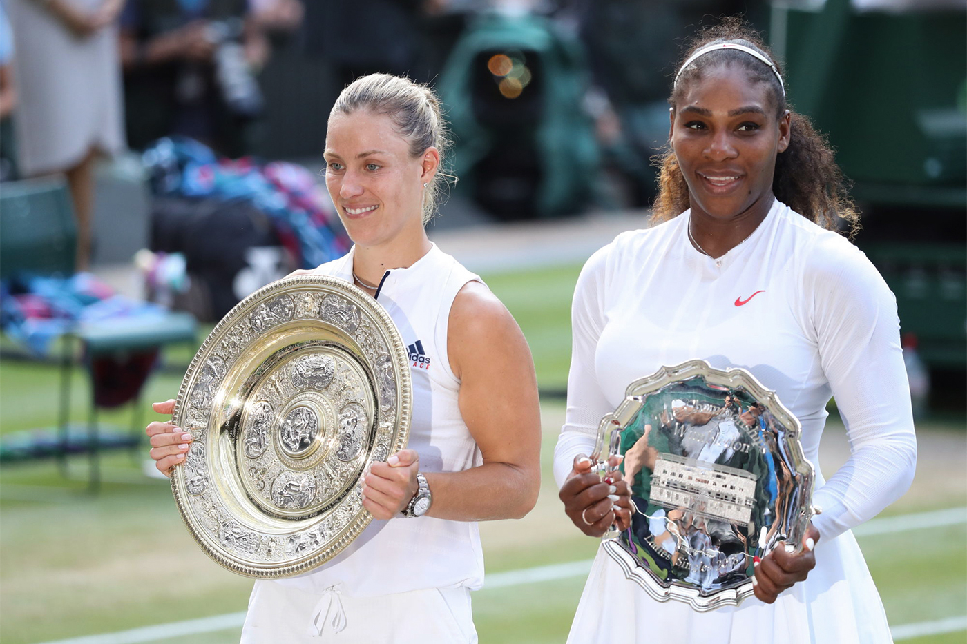 Angelique Kerber GER v Serena Williams USA in the final of the Ladies' Singles on Centre Court. The Championships 2018. Held at The All England Lawn Tennis Club, Wimbledon. Day 12 Saturday 14/07/2018. Credit: AELTC/Simon Bruty