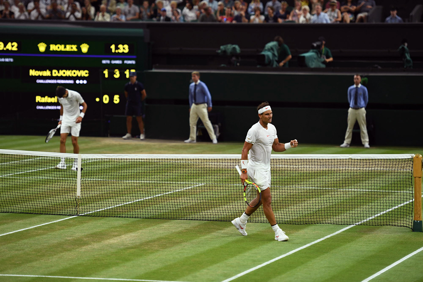 Novak Djokovic SRB v Rafael Nadal ESP in the semi final of the Gentlemen's Singles on Centre Court. The Championships 2018. Held at The All England Lawn Tennis Club, Wimbledon. Day 11 Friday 13/07/2018. Credit: AELTC/Joel Marklund