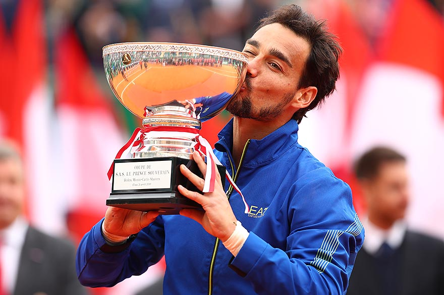 MONTE-CARLO, MONACO - APRIL 21:  Fabio Fognini of Italy kisses the winners trophy after his straight sets victory against Dusan Lajovic of Serbia in the men's singles final during day eight of the Rolex Monte-Carlo Masters at Monte-Carlo Country Club on April 21, 2019 in Monte-Carlo, Monaco. (Photo by Clive Brunskill/Getty Images)